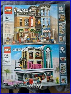 LEGO Creator LOT Detective's Office 10246 & Diner 10260 FACTORY SEALED NEW RARE