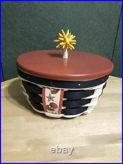 Longaberger Firecracker Basket Protector Lid Sealed Rare Red White Blue Round Up