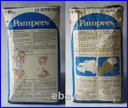 RARE VINTAGE 80'S PAMPERS 12 SUPER PLUS PLASTIC 4-10kg 9-22 lbs NEW SEALED NOS
