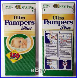 RARE VINTAGE 80'S ULTRA PAMPERS 10-20kg 22-44lbs MAXI PLUS PLASTIC NEW SEALED